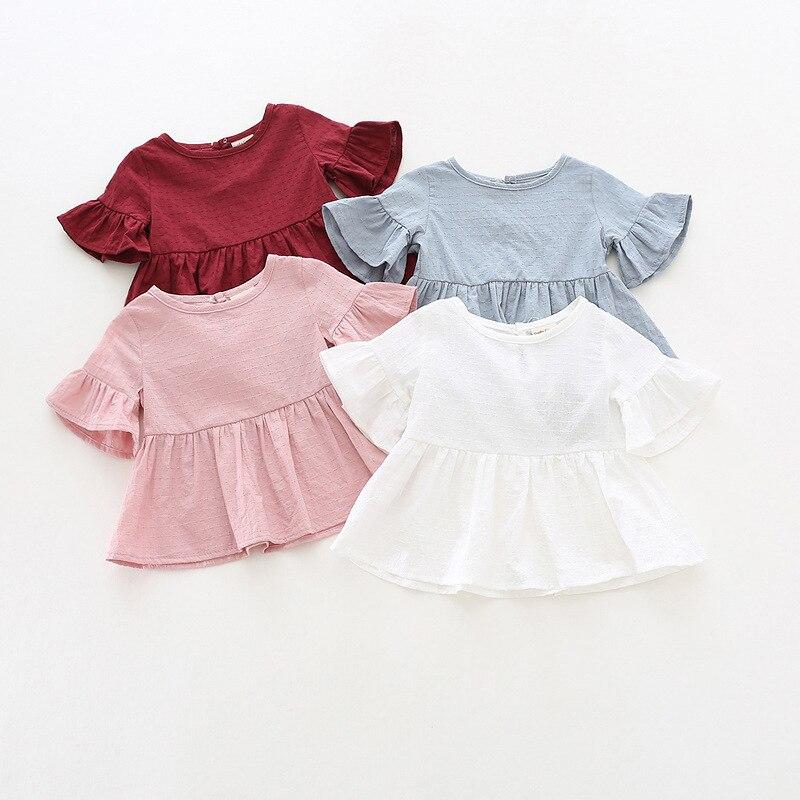 Детская футболка с длинными рукавами, розовые Осенние Топы в горошек белого цвета для маленьких девочек, футболки, Длинная желтая одежда