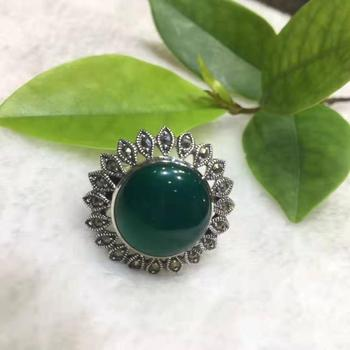 925 silver inlaid natural green agate sun flower silver ring free shipping