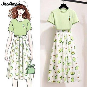 2021 Summer Women Fashion T-shirt Skirts Set Girls Leisure Avocado Dress Lady Casual Green Short Sleeve Clothing Suit Wholesale 1
