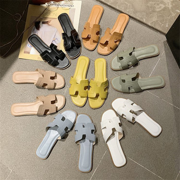 Flat Sandals Summer Women's Slippers Leather Comfortable Sole Cross Weave 8 Colors Woman Slippers  Walking Shoes Colorful