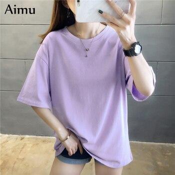 2021 Summer Women T Shirt harajuku solid T-shirts students korean Casual loose Short Sleeve pink white Tops 90s Female Tee Shirt 1