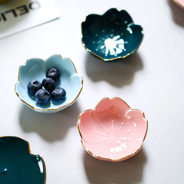 Ceramic Flower Dishes Seasoning Dipping Bowl Sakura Ceramic Dish Cherry Blossom Trinket Plate Sauce Dish Flower Dish for Kitchen 5