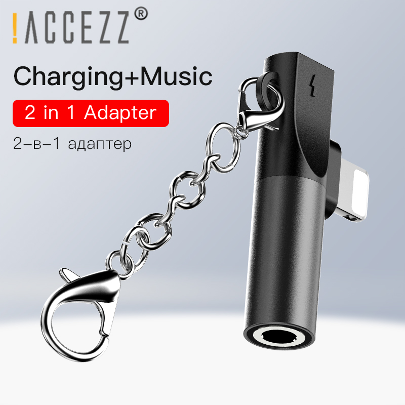 !ACCEZZ For Iphone To 3.5mm Earphones 2 In 1 Adapter For Iphone 7 8 Plus X XS MAX XR Charging Playing Music Connector Keychain