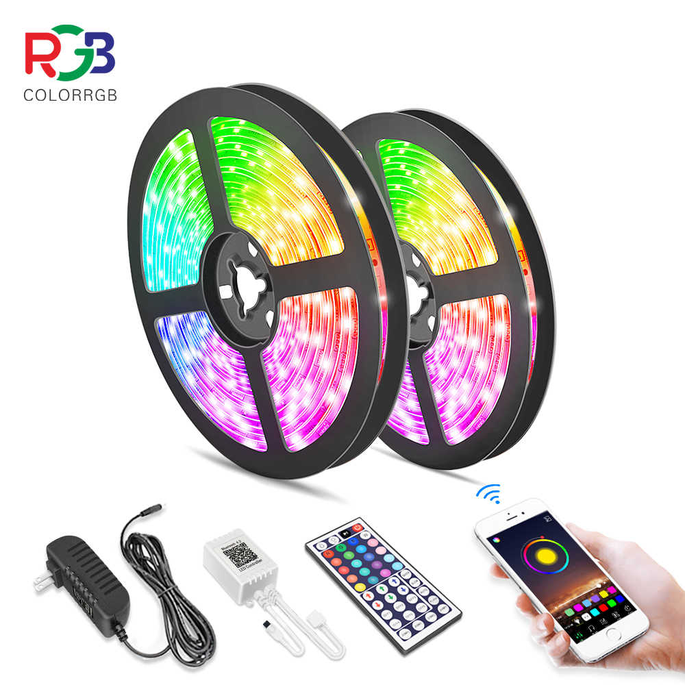 5M 10M Lampu LED Strip RGB 5050 Pita Fleksibel Fita Lampu Led Strip RGB Tape Diode DC 12V + Remote Control