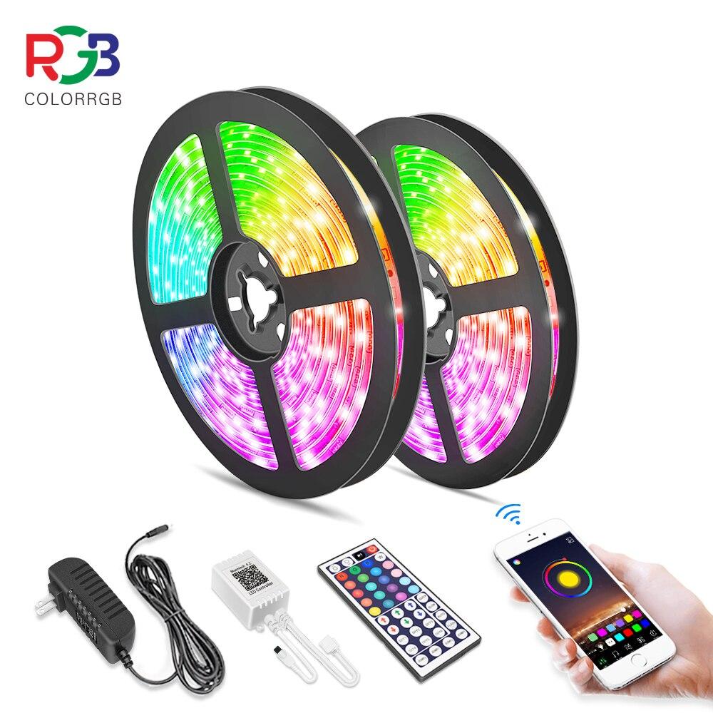 Tira de luces LED de 5M y 10M, RGB 5050, cinta Flexible, cinta de luz Led, tira RGB de diodos de cinta cc 12V + mando a distancia