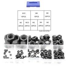 140PCS M2-M10 Carbon Steel Black Hex Nylon Insert Lock Nuts Self-Locking Lock Nuts Lock Nuts