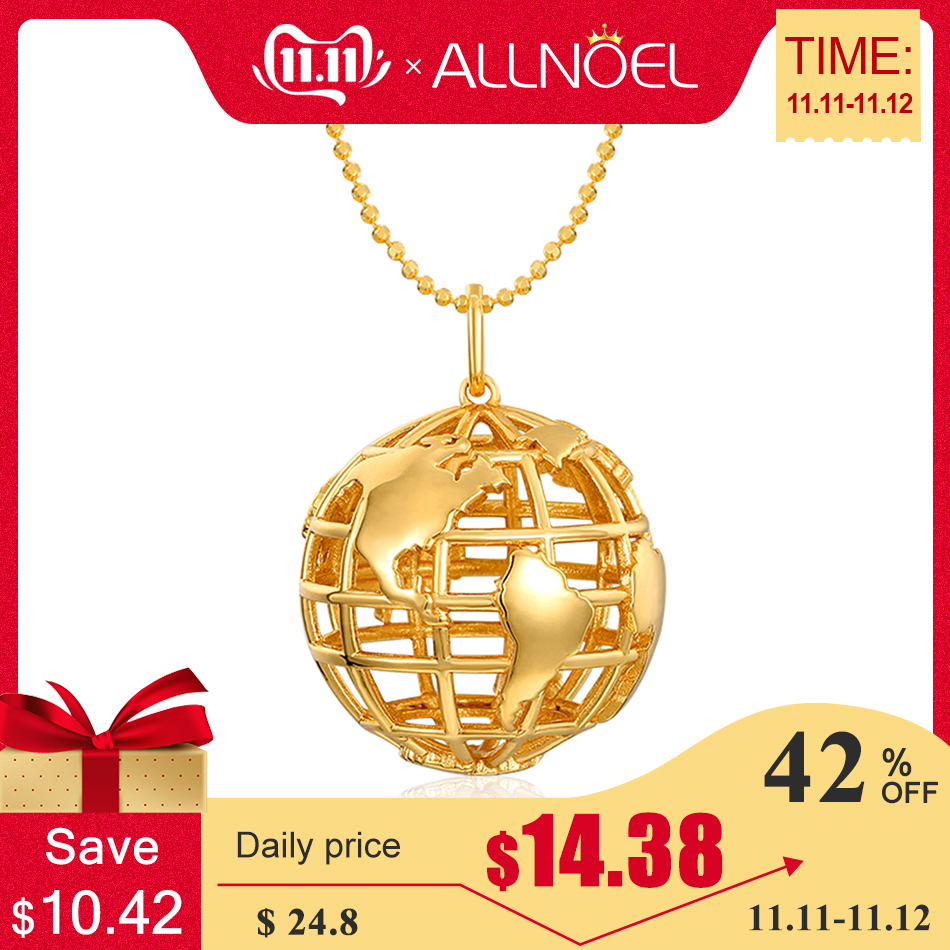 ALLNOEL Long Sweater Necklace Pendants Silver Pendant Gold Plated 925 Solid Globe Earth Gifts Women Clothes Accessories Jewelry