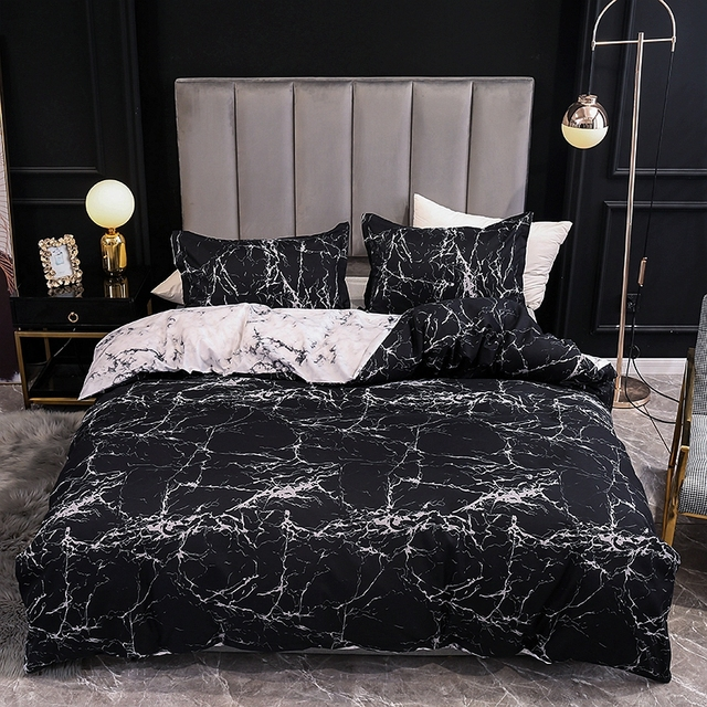 Duvet Cover And Pillow Case Black Marble