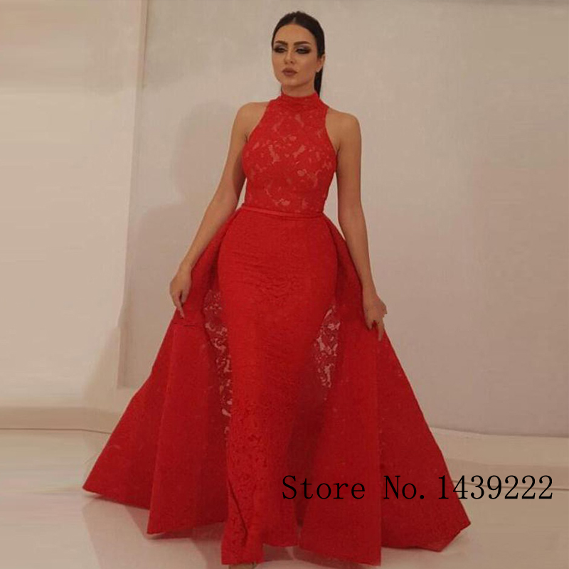 Sofuge Red Halter Lace Evening Dress Straight Detachable Train Formal Celebrity Dresses Robe De Soiree Evening Dress