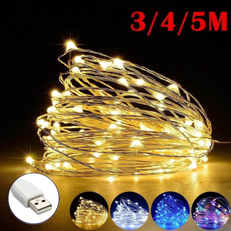 3/4/5m Copper Wire LED String Lights Holiday Lighting Fairy Garland For Christmas Tree Wedding Party Decoration