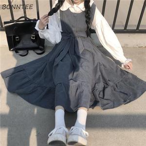 Sleeveless Dress Women New Ulzzang College Style Summer Sweet Ruffles Girls Long Dresses High Waist Kawaii Bowknot Plus Size 4XL