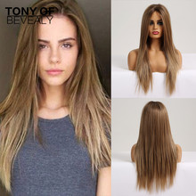 Lace Front Wigs Long Straight Blonde Synthetic Wigs Middle