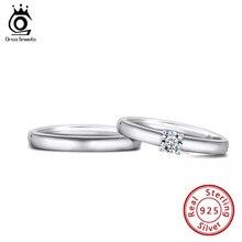 ORSA biżuteria fabryka hurtownie mężczyźni kobiety zestawy pierścionków S925 Sterling srebrne wesele zaręczyny Solitaire pierścionki dla pary SR196