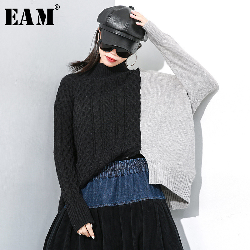 [EAM] Contrast Color Big Size Knitting Sweater Loose Fit Round Neck Long Sleeve Women New Fashion Spring Autumn 2020 1M028