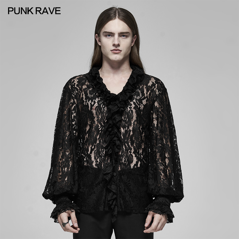 PUNK RAVE Men's Gothic See-through V-neck Shirt Lace Fabric Luxuriant Sexy Bubble Sleeve Party Stage Black Performance Blouse