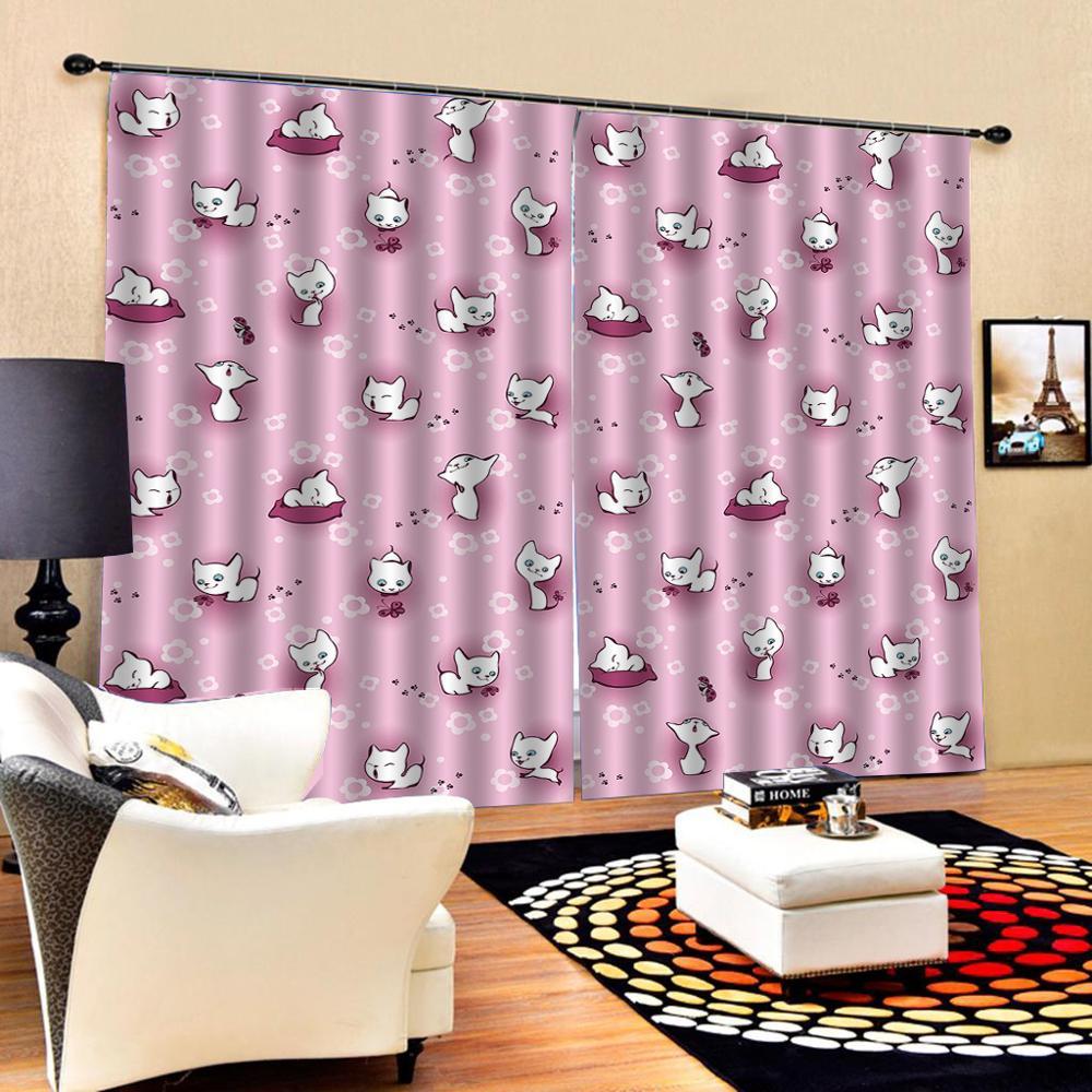 pink curtains High quality custom 3d curtain fabric 3D Curtain Luxury Blackout Window Curtain Living Room girls curtains