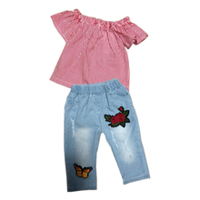 1-6Y Toddler Baby Kids Girls Outfit Clothes Short Sleeve T-shirt Red Striped Crop Tops+Jeans Long Pants Fashion girls clothes
