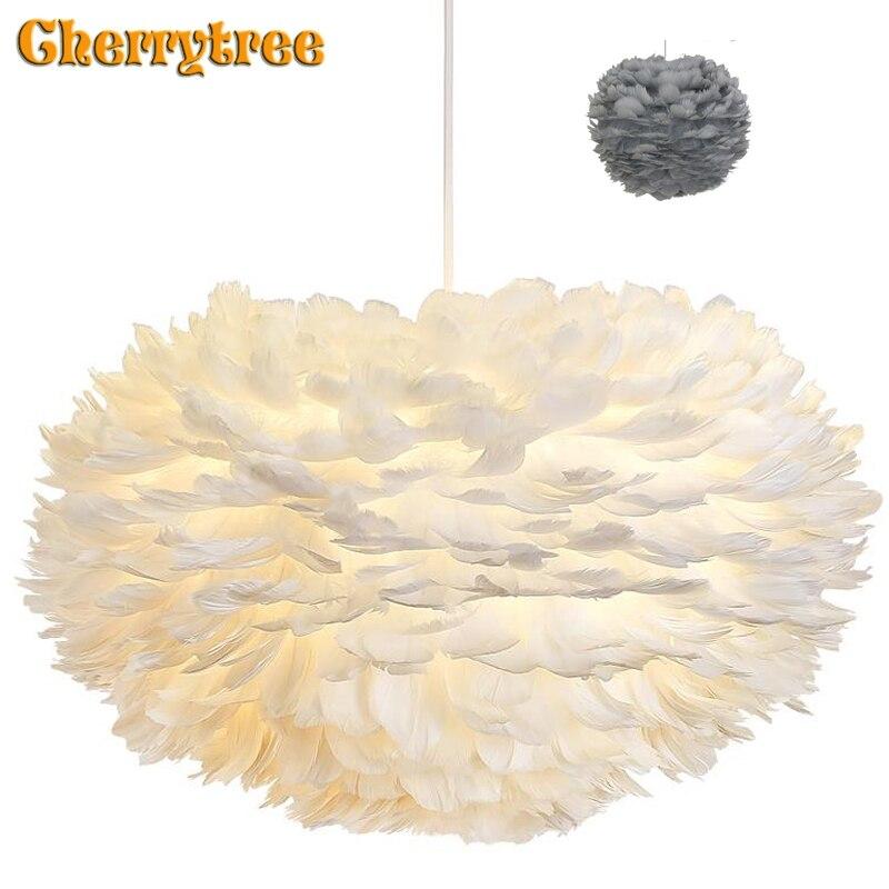נוצת תליון אורות Hanglamp תליון מנורת נורדי עיצוב זוהר בציר לופט דקור חדר אוכל מטבח בית אור גופי LED