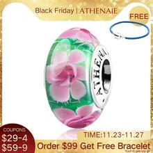 Athenaieムラーノガラスビーズ 925 スターリングシルバーコアピンクの牡丹の花きらめきチャームビーズ色グリーンフィットチャームブレスレット