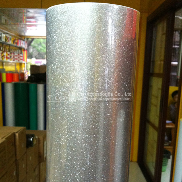 Premium High Glossy Silver Diamond Pearl Glitter Wrapping Vinyl Film Glossy Silver Diamond Glitter Car Sticker