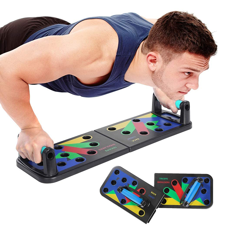 Push-up Rack Board With Resistance Band  Fitness  Exercise Tool Push-up Stands Portable Bracket Board Abdominal Muscle Trainer