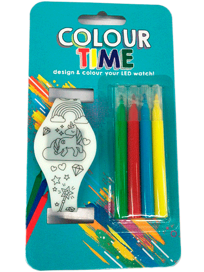 Led Watch Coloring With 4 Markers With Batteries Included-Details And Gifts For Weddings, Christenings, Communions, Birthday