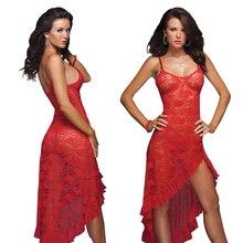 Yaz sıcak büyük boy S 6XL,M,XL,XXXL,XXXXL elbise + g string seksi iç çamaşırı uzun dantel gecelik ev jartiyer uzun