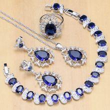 Abartılı mavi zirkon taş beyaz CZ 925 ayar gümüş takı setleri kadınlar için küpe/kolye/kolye/yüzük/bilezik