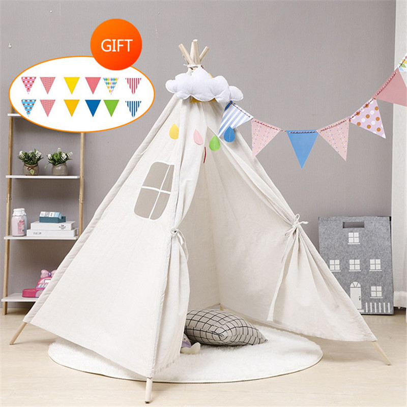 Children's Tent Teepee Tent For Kids Portable Tipi Infantil House For Children Cabana Kids Tents Decoration Carpet LED Lights