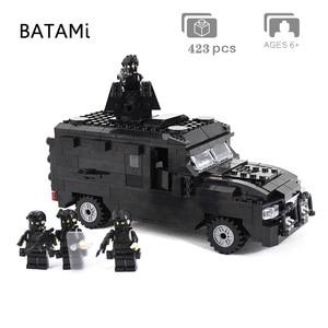 Image 5 - 도시 빌딩 블록과 호환되는 모델 구축 키트 Swat 방폭 자동차 세트 423 pcs 4 벽돌 minfigures 장난감