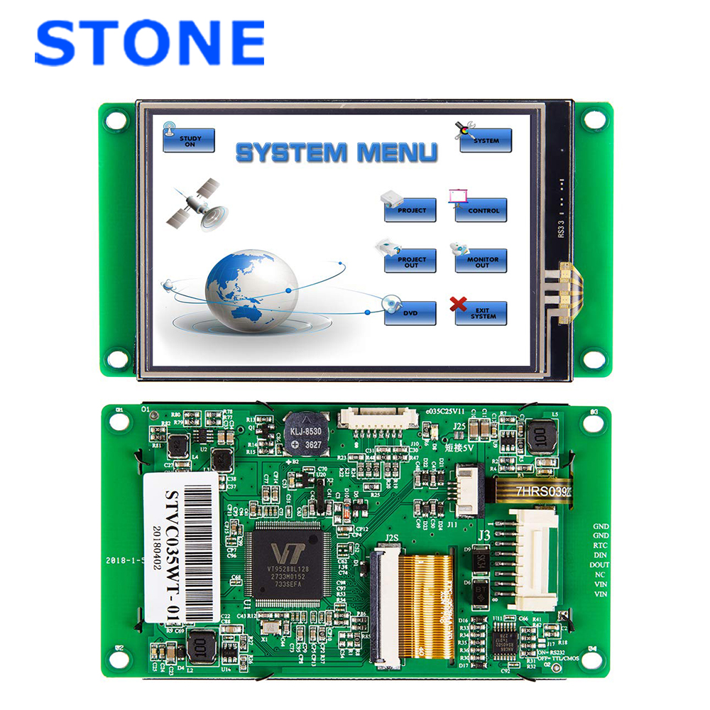 3.5 Inch HMI TFT LCD Dot Matrix Colour Graphic LCD With Software And RS232 / RS485 / TTL Interface STVC035WT-01