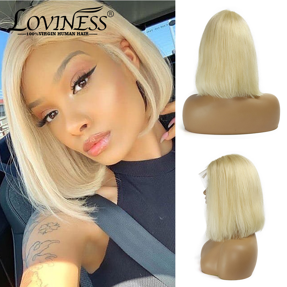 LOVINESS U Part Blonde Closure Bob Human Hair Lace Short Wig Cheap Brazilian Straight Remy Virgin Ombre Frontal Wigs Black Women