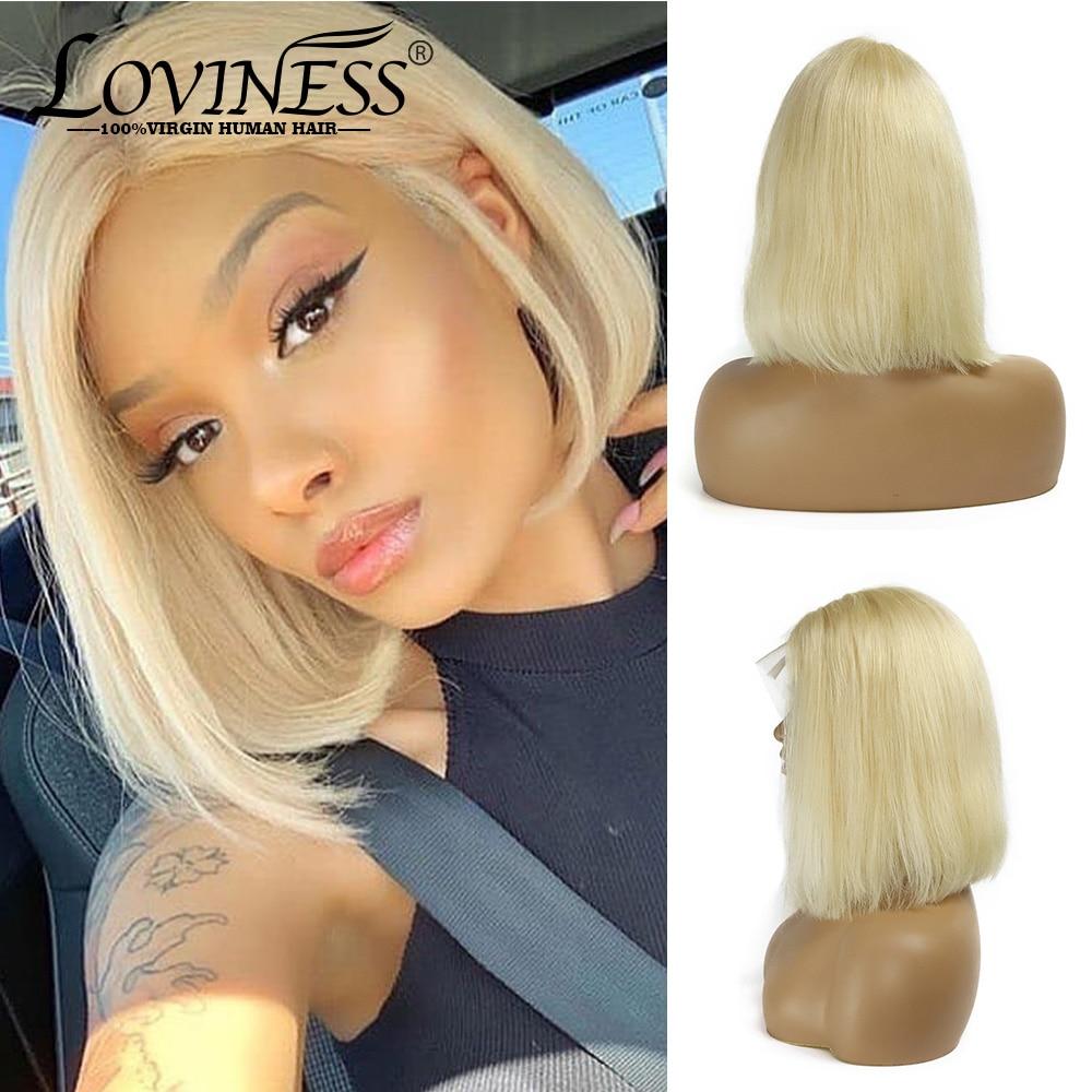LOVINESS U Part Blonde Closure Bob Human Hair Lace Short Wig Cheap Brazilian Straight Remy Virgin Ombre Frontal Wigs Black Women