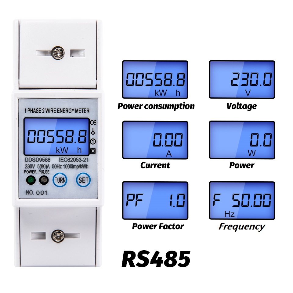 RS485 5-80A 230V AC High Precision Electric Energy Meter Digital Electricity Consumption Meter With Voltage Current Display