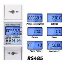 Medidor do consumo de eletricidade de digitas do medidor da energia elétrica da elevada precisão da c.a. rs485 5-80a 230v com indicação atual da tensão