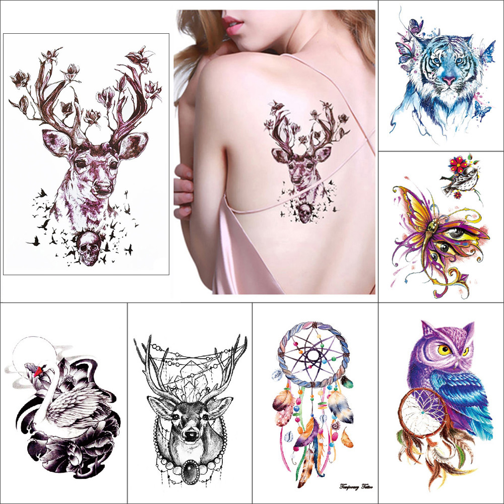 Temporary Waterproof Tattoo Paste Dreamcatcher Elk Feather Flower Owl Butterfly Fake Tattoo For Women Arms Legs Back