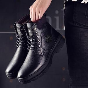 Image 3 - أوسكو جلد أصلي للرجال أحذية برقبة طويلة مقاومة للماء الرجال حذاء كاجوال موضة حذاء من الجلد للرجال عالية أعلى الشتاء الرجال الأحذية