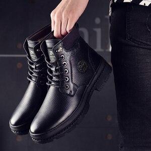 Image 3 - Osco couro genuíno homem botas à prova dwaterproof água sapatos casuais moda botas de tornozelo para homens de alta qualidade botas de inverno