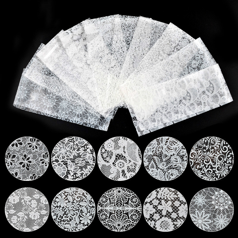 10 pcs <font><b>Nail</b></font> Art Transfer Foil <font><b>Stickers</b></font> <font><b>Sexy</b></font> Lace Mixed Flower Patterns White And Black For DIY Manicure Decoration Accessories image