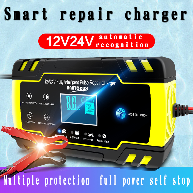 Universal <font><b>Car</b></font> <font><b>Battery</b></font> Charger 12/24V 8A Touch Screen Pulse Repair LCD <font><b>Battery</b></font> Charger For <font><b>Car</b></font> Motorcycle Lead Acid <font><b>Battery</b></font> Agm image