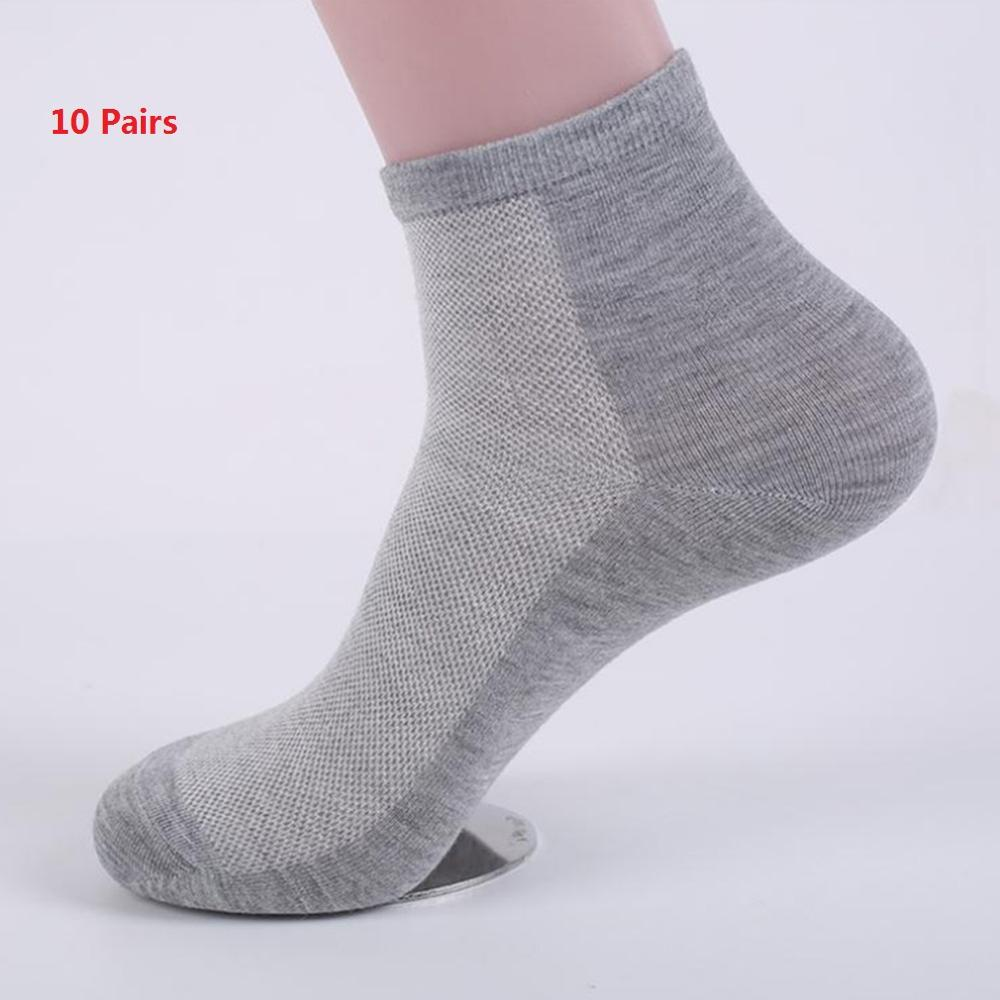 10pairs 2020 Summer Sport Men Socks Breathable Mid-calf Length Solid Mesh Short Socks Cotton Blend Black White Grey Sock Men