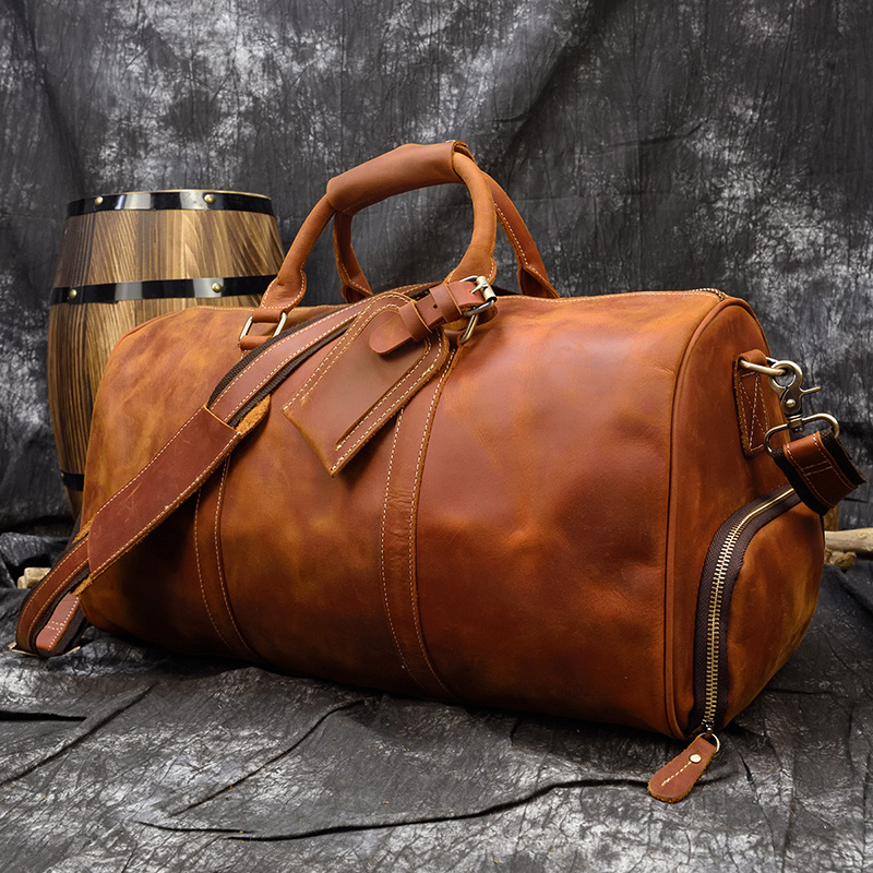 MAHEU Men's Crazy Horse Leather Travel Bag Duffle Bag Handmade Male Travel Tote Bag For Airplane Handbag With Shoe Compartment
