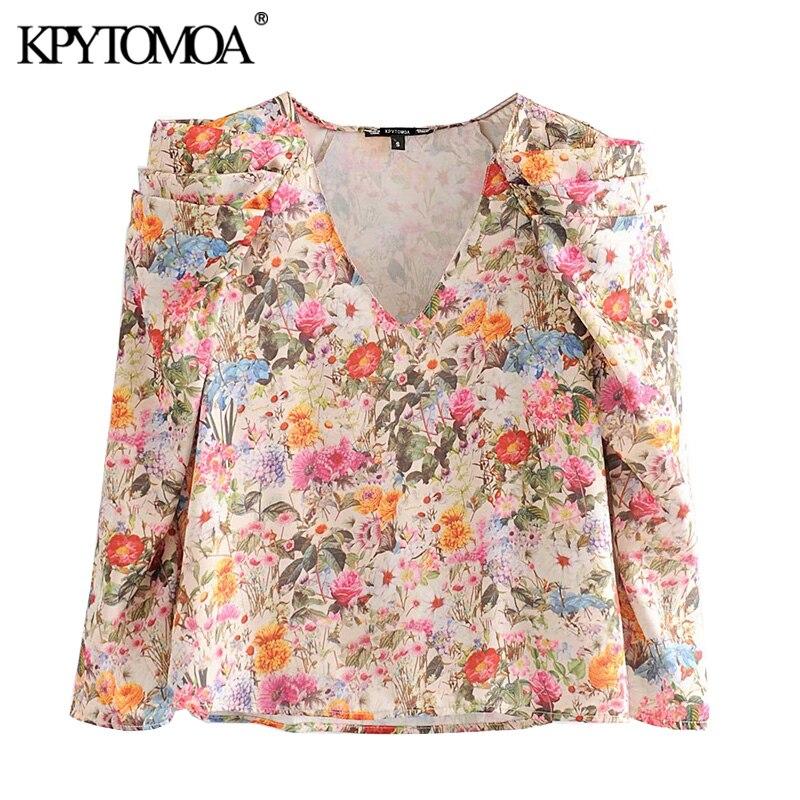 KPYTOMOA Women 2020 Fashion Floral Print Ruffled Blouses Vintage V Neck Long Sleeve Female Shirts Blusas Mujer Chic Tops