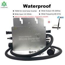 Wifi микроинвертор сетка галстук инвертор 700 Вт Водонепроницаемый Солнечный микро Конвертер Регулятор MPPT инверсор 22-50VDC 80-280VAC инвертор
