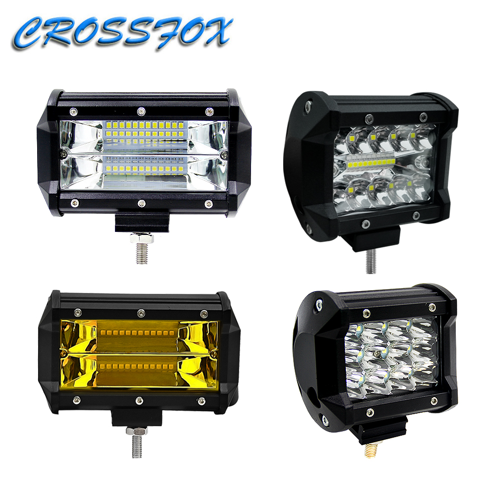 1Pcs Car Spot Lamp 36W 60W Worklight 72W LED Auto Work Light Bar For Offroad Motorcycle 4x4 Tractor Boat Off-road Vehicle Light