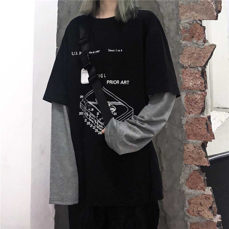 NiceMix Harajuku Fake Two Piece T-Shirt Women Hip Hop Streetwear Long Sleeve Printed Oversized Mens Tees Casual Loose O-Neck