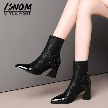 ISNOM Cow Leather Boots Women Print Stretch Ankle Booties Woman High Heels Shoes Female Pointed Toe Print Shoes Ladies Winter