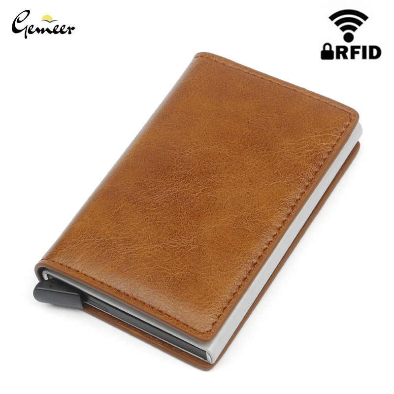 Gemeer Men Wallet RFID Credit Card Holder Anti-Theft Automatic Wallet Card Case Leather Male Purse Credit Card