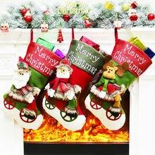 Рождественский подарок, рождественские чулки, мини-носки Санта-Клауса, Подарочная сумка для конфет, украшения рождественской елки, Висячие рождественские чулки
