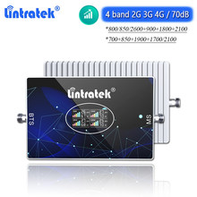 Lintratek 4 banda 2g 3g 4g impulsionador de sinal lte b20 800 850 900 1800 2600 2100 umts wcdma 70db celular amplificador repetidor internet